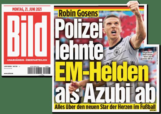 Ausriss Bild-Titelseite - Robin Gosens - Polizei lehnte EM-Helden als Azubi ab