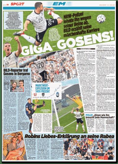 Ausriss Bild-Zeitung - Im Sportteil Giga-Gosens! NRW-Polizei lehnte ihn wegen seiner Beine ab. Bild erzählt seine märchenhafte Karriere