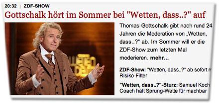 """Gottschalk hört im Sommer bei """"Wetten, dass..?"""" auf. Thomas Gottschalk gibt nach rund 24 Jahren die Moderation von """"Wetten, dass..?"""" ab. Im Sommer will er die ZDF-Show zum letzten Mal moderieren."""