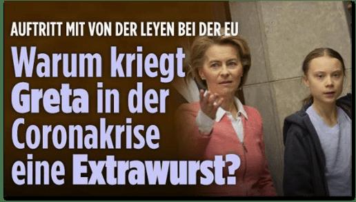 Screenshot Bild.de - Auftritt mit von der Leyen bei der EU - Warum kriegt Greta in der Coronakrise eine Extrawurst?