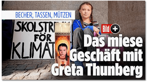 Screenshot Bild.de - Becher, Tassen, Mützen - Das miese Geschäft mit Greta Thunberg