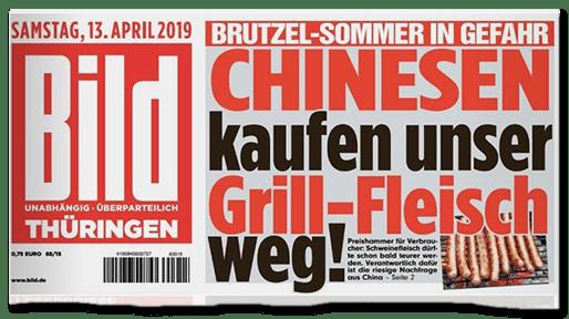 Titelschlagzeile Bild vom 13. April: Chinesen kaufen unser Grill-Fleisch weg!