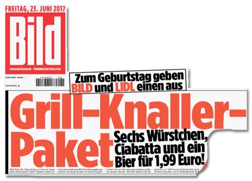 Zum Geburtstag geben BILD und LIDL einen Aus - Grill-Knaller-Paket - Sechs Würstchen, ein Ciabatta und ein Bier für 1,99 Euro!