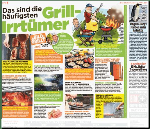 Ausriss Bild-Zeitung - Übersicht Seite acht mit den beiden zitierten Meldungen und deutlich größer daneben Das sind die häufigsten Grill-Irrtümer