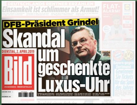 Ausriss Bild-Titelseite - DFB-Präsident Grindel - Skandal um geschenkte Luxus-Uhr