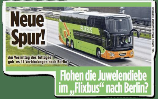 Ausriss Bild-Zeitung Dresden - Neue Spur! Flohen die Juwelendiebe im Flixbus nach Berlin?