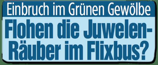Ausriss Bild-Zeitung Bundesausgabe - Einbruch im Grünen Gewölbe - Flohen die Juwelenräuber im Flixbus?
