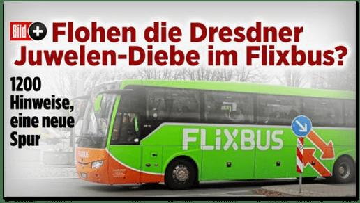 Screenshot Bild.de - Flohen die Dresdner Juwelen-Diebe im Flixbus? 1200 Hinweise, eine neue Spur
