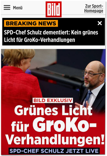 Screenshot Bild.de - Oben: Breaking News - SPD-Chef Schulz dementiert: Kein grünes Licht für GroKo-Verhandlungen - Unten: Bild exklusiv - Grünes Licht für GroKo-Verhandlungen
