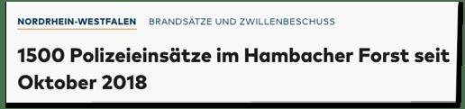 Screenshot Welt.de - Brandsätze und Zwillenbeschuss - 1500 Polizeieinsätze im Hambacher Forst seit Oktober 2018