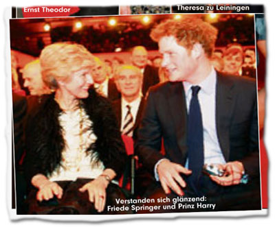 Verstanden sich glänzend: Friede Springer und Prinz Harry.