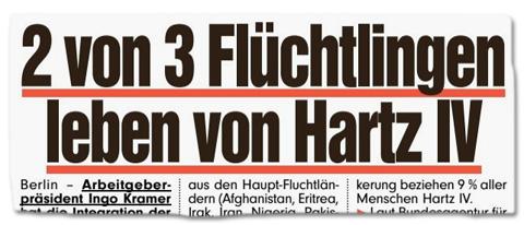 Ausriss Bild-Titelseite - Zwei von drei Flüchtlingen leben von Hartz IV