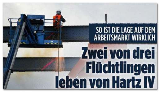 Screenshot Bild.de - So ist die Lage auf dem Arbeitsmarkt wirklich - Zwei von drei Flüchtlingen leben von Hartz IV