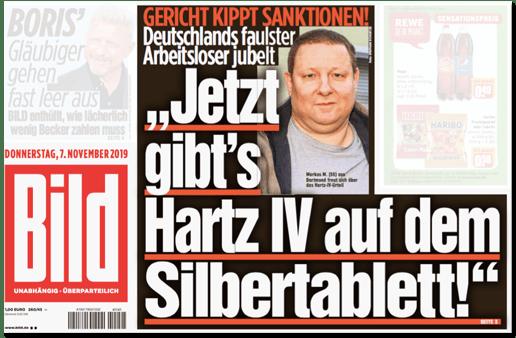 Ausriss der Bild-Titelseite - Gericht kippt Sanktionen! Deutschlands faulster Arbeitsloser jubelt - Jetzt gibt es Hartz IV auf dem Silbertablett!