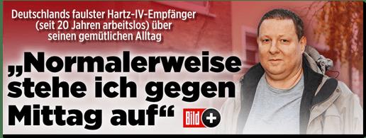 Screenshot Bild.de - Deutschlands faulster Hartz-IV-Empfänger (seit 20 Jahren arbeitslos) über seinen gemütlichen Alltag - Normalerweise stehe ich gegen Mittag auf