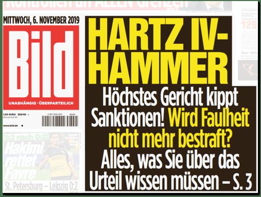 Ausriss der Bild-Titelseite - Hartz-IV-Hammer - Höchstes Gericht kippt Sanktionen! Wird Faulheit nicht mehr bestraft? Alles, was Sie über das Urteil wissen müssen