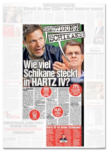 Ausriss Bild-Zeitung - Wie viel Schikane steckt in Hartz IV?