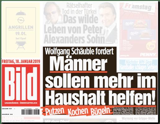 Ausriss Bild-Titelseite - Wolfgang Schäuble fordert - Männer sollen mehr im Haushalt helfen - putzen, kochen, bügeln