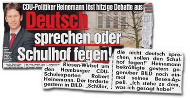 """CDU-Politiker Heinemann löst hitzige Debatte aus: Deutsch sprechen oder Schulhof fegen! - Riesen-Wirbel um den Hamburger CDU-Schulexperten Robert Heinemann. Der forderte gestern in BILD: """"Schüler, die nicht deutsch sprechen, sollen den Schulhof fegen!"""" Heinemann bekräftigte gestern gegenüber BILD noch einmal seinen Besen-Appell. """"Ich stehe zu dem, was ich gesagt habe!"""""""