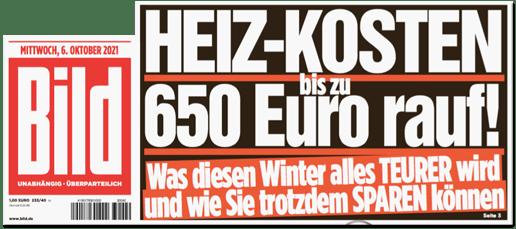 Ausriss Bild-Titelseite - Heiz-Kosten bis zu 650 Euro rauf! Was diesen Winter alles teurer wird und wie Sie trotzdem sparen können
