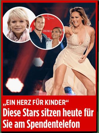 Screenshot Bild.de - Ein Herz für Kinder - Diese Stars sitzen heute für Sie am Spendentelefon - zu sehen ist das gleiche Foto vom Fischer-Auftritt. Nun bedeckt das Kleid allerdings den Bereich, an dem zuvor die Unterwäsche zu sehen war