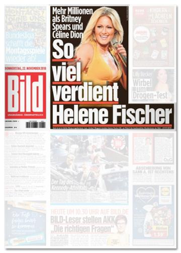 Ausriss Bild-Titelseite - Mehr Millionen als Britney Spears und Celine Dion - So viel verdient Helene Fischer