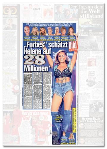 Ausriss Bild-Zeitung - Forbes schätzt Helene auf 28 Millionen