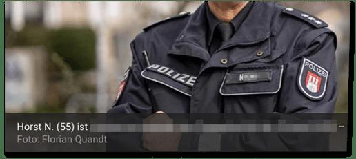 Screenshot Mopo.de - Horst N. (55) ist ... - Dazu zeigt die Redaktion eine Foto des uniformierten Polizisten, auf dem das Namensschild des Mannes zu erkennen ist