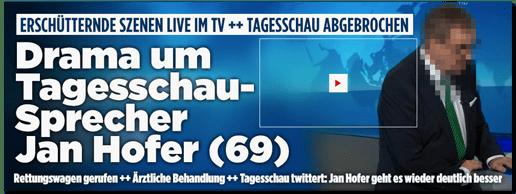 Screenshot Bild.de - Erschütternde Szenen live im TV - Tagesschau abgebrochen - Drama um Tagesschau-Sprecher Jan Hofer - Rettungswagen gerufen - Ärztliche Behandlung - Tagesschau twittert: Jan Hofer geht es wieder deutlich besser