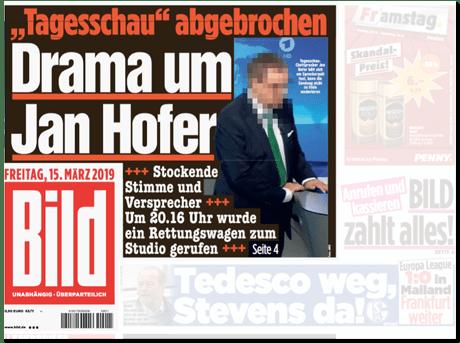 Ausriss Bild-Titelseite - Tagesschau abgebrochen - Drama um Jan Hofer - Stockende Stimme und Versprecher - Um 20:20 Uhr wurde Rettungswagen zum Studio gerufen