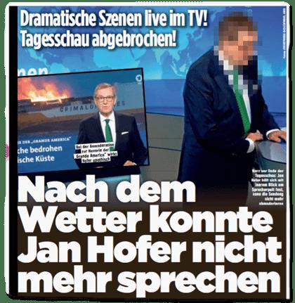 Ausriss Bild-Zeitung - Dramatische Szenen live im TV! Tagesschau abgebrochen! Nach dem Wetter konnte Jan Hofer nicht mehr sprechen