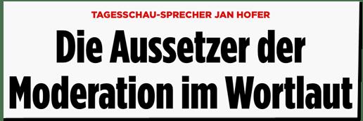 Screenshot Bild.de - Tagesschau-Sprecher Jan Hofer - Die Aussetzer der Moderation im Wortlaut