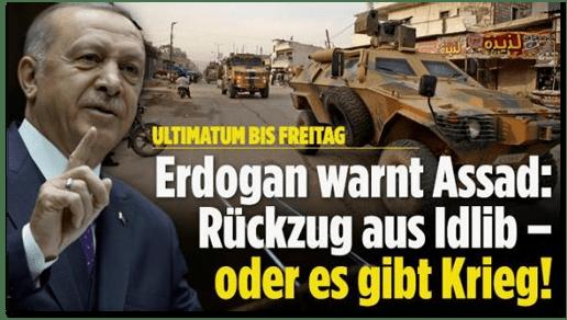 Screenshot Bild.de - Ultimatum bis Freitag - Erdogan warnt Assad: Rückzug aus Idlib - oder es gibt Krieg!