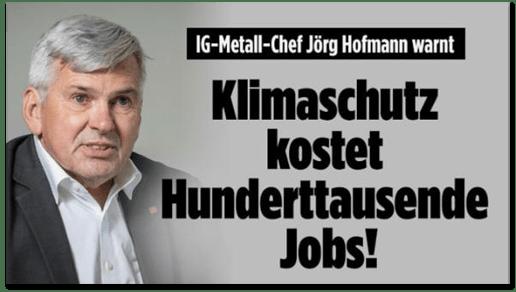 Screenshot Bild.de - IG-Metall-Chef Jörg Hofmann warnt - Klimaschutz kostet Hunderttausende Jobs