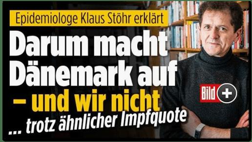 Screenshot Bild.de - Epidemiologe Klaus Stöhr erklärt - Darum macht Dänemark auf und wir nicht - trotz ähnliche Impfquote