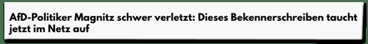 Screenshot Derwesten.de - AfD-Politiker Magnitz schwer verletzt: Dieses Bekennerschreiben taucht jetzt im Netz auf