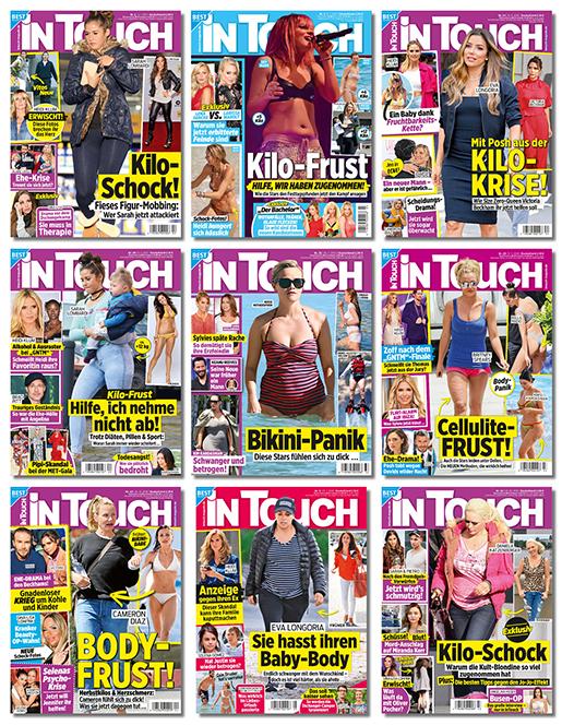 Collage mit Intouch-Covern mit Kilo-Schock, Kilo-Krise, Kilo-Frust, Bikini-Panik, Body-Frust