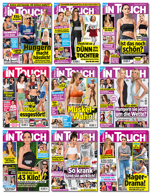 Collage mit Intouch-Covern mit Hungern macht hässlich, Jung, schön, essgestört, Mager-Drama