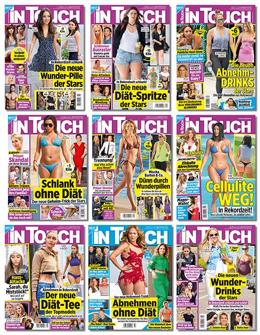Collage mit Intouch-Covern mit Die neue Wunder-Pille der Stars, Die neuen Abnehm-Drinks der Stars, Der neue Diät-Tee der Topmodels