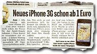 """Neues iPhone 3G schon ab 1 Euro"""