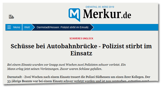 Screenshot Merkur.de - Schweres Unglück - Schüsse bei Autobahnbrücke