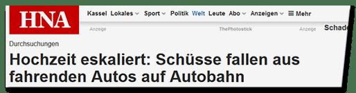 Screenshot HNA.de - Durchsuchungen - Hochzeit eskaliert: Schüssel fallen aus fahrenden Autos auf Autobahn