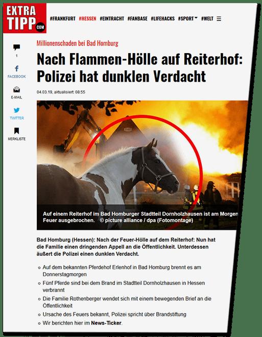 Screenshot extratipp.com - Millionenschaden in Bad Homburg - Nach Flammen-Hölle auf Reiterhof: Polizei hat dunklen Verdacht