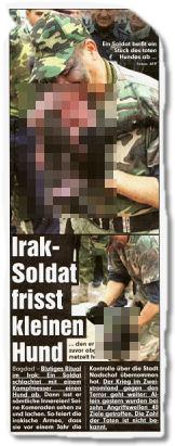 Ein irak soldat frisst einen kleinen hund