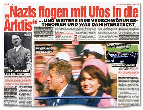 Ausriss Bild-Zeitung - Nazis flogen mit Ufos in die Arktis - und weitere irre Verschwörungstheorien und was dahintersteckt