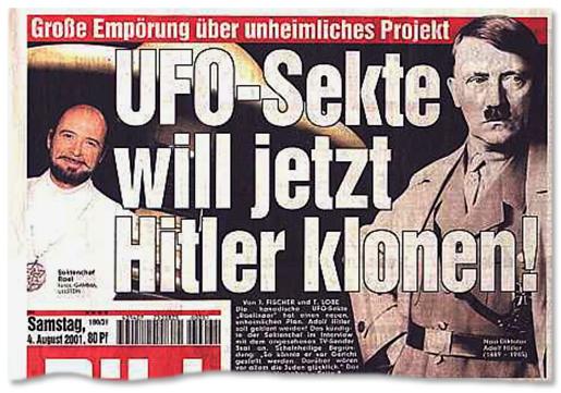 Ausriss Bild-Titelseite - UFO-Sekte will jetzt Hitler klonen!