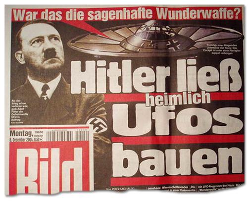 Ausriss Bild-Titelseite - Hitler ließ heimlich Ufos bauen