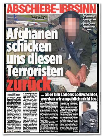 Ausriss Bild-Zeitung - Abschiebe-Irrsinn - Afghanen schicken uns diesen  Terroristen zurück -