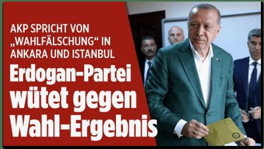Screenshot Bild.de - AKP spricht von Wahlfälschung in Ankara und Istanbul - Erdogan-Partei wütete gegen Wahl-Ergebnis