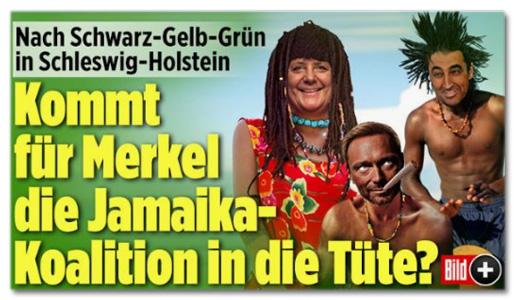 Ausriss Bild.de - Nach Schwarz-Geld-Grün in Schleswig-Holstein - Kommt für Merkel die Jamaika-Koalition in die Tüte?